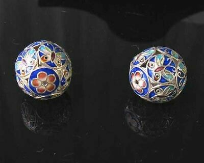 BUTTERFLY 1 Fine SILVER CLOISONNE 19mm Round BEAD 10285