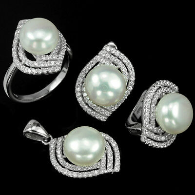 Natural Aaa White Pearl Round Cabochon & Cz Sterling 925 Silver Set Size 6