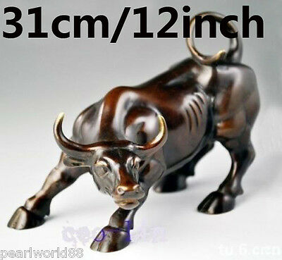 Big Wall Street Bronze Fierce Bull OX Statue 12inch(Length)