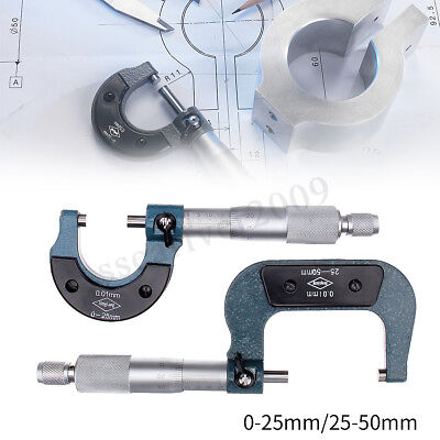 MICROMETER 25-50mm METRIC OUTSIDE EXTERNAL CALIPER MEASUREMENT READING  new