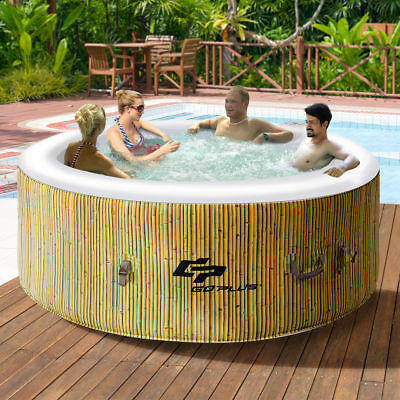 4 Person Inflatable Hot Tub Portable Heated Bubble Massage Spa Outdoor Jets
