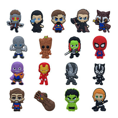 100pcs Avengers PVC Shoe Charms Accessories for holes on Shoes Bracelet Bag Gift