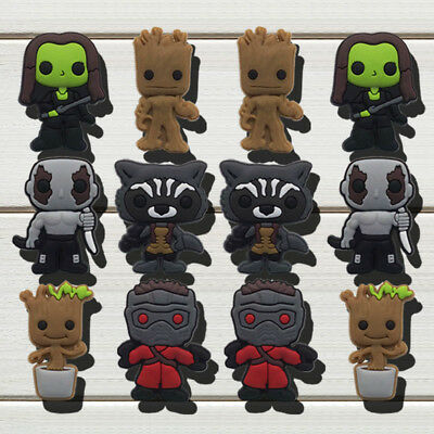 60pcs Guardians of Galaxy PVC Shoe Charms Accessories for holes on Shoes Bands