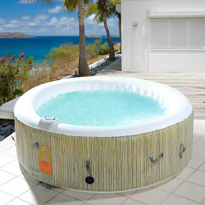 Portable 6 Person Inflatable Hot Tub Bubble Jets Heated Outdoor Massage Spa