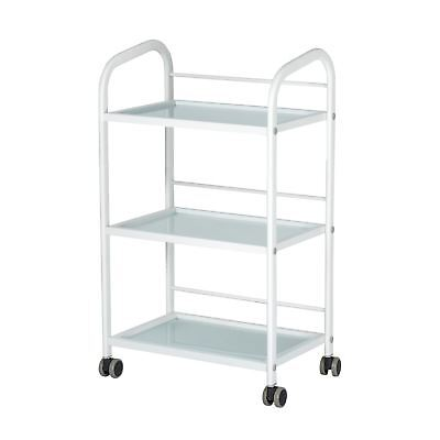 Glass Salon Trolley Beauty Hair Spa Product Display stand Cabinet white