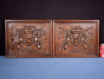 *Pair of Antique French Renaissance Carved Solid Oak Panels with Cherubs