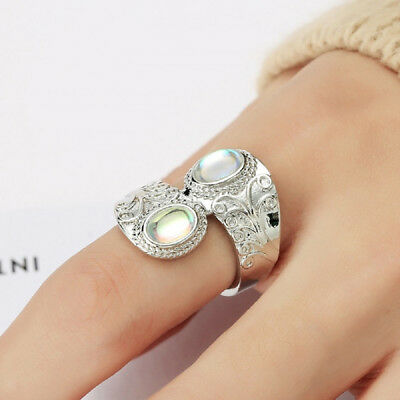 Bohemian Styles Large Oval Moonstone Opal Chic Rings Band for Ladies Favor D