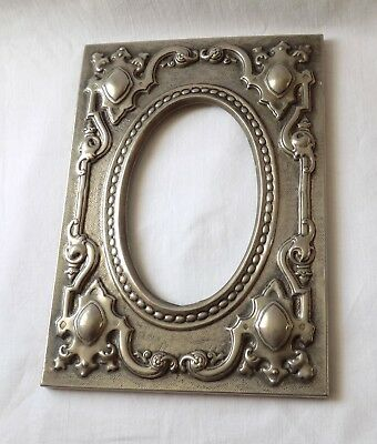 Vintage Antique Arts & Crafts Gothic Style, Repousse Silver Metal Picture Frame.