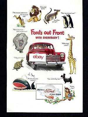 Ford Motor Company 1946 Red Sedan Fords Out Front With Everybody Animals Ad