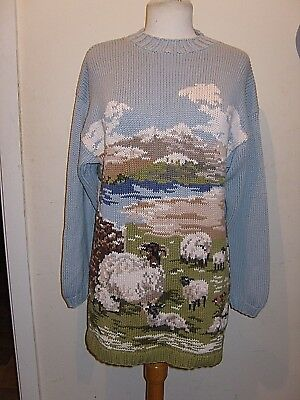 Vintage Stunning Soft Cotton Sheep Lambs Clouds Pictorial Jumper Mini Dress M-L