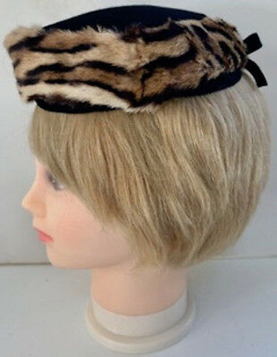 6c7a4a4fa295a Rare Tiger Fur Pill Box Hat from 1940 s - Adorable and in Excellent  Condition!