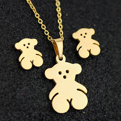 Lovely bear Stainless steel earring necklace Set Charm Jewelry