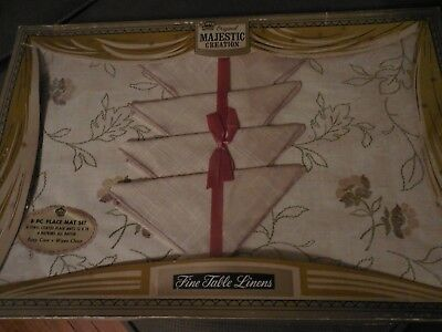 Vintage Original Majestic Creation Fine Table Linens Placemats & Napkins Tan