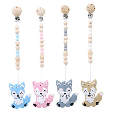 DIY Silicone Baby Pacifier Chain Lovely Fox Baby Dummy Pacifier Clip Toys New OE