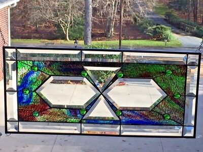 Beautiful!!   Multi Colored Stain Glass and Beveled Transom