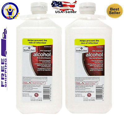 Member's Mark 91% Isopropyl Alcohol 32 Fl Oz 2 Pk First Aid Topical Antiseptic
