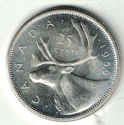 Canada 1959 25 Cents Quarter King George Vi Canadian Silver Coin