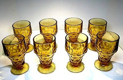 8 Vintage Anchor Hocking Georgian Amber Topaz Honey Stemmed Iced Tea Goblets