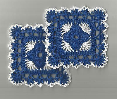 """2 Crochet Doilies Small Lace Dark Royal Blue and White 4"""" Square"""