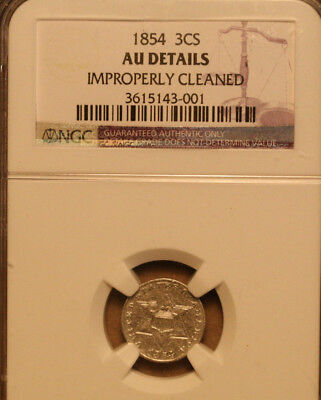 1854 Three Cent Silver   NGC AU details (cleaned)