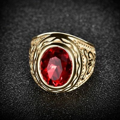 Vintage Mens Oval Red Garnet Gold Stainless Steel Celtic Band Rings Jewellery