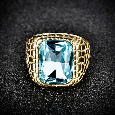 Fashion Mens Gold Stainless Steel Blue Aquamarine Snake Skin Finger Band Rings