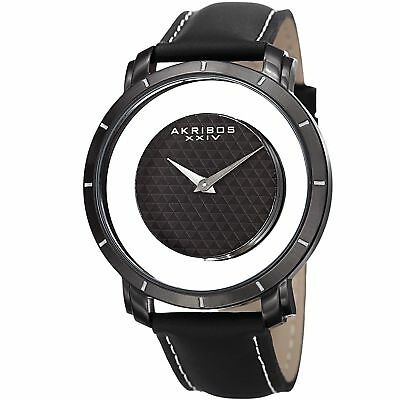 853a05af277 Akribos XXIV Men s Swiss Quartz Retro Style Transparent Dial Leather Black  Strap