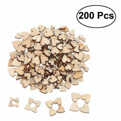 200 Pcs Wood Heart Blank Slices Heart Shaped Cutout for Arts Wedding Valentine