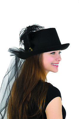 Womens Deluxe Black Felt Top Hat With Plume & Veil Halloween Costume Accessory