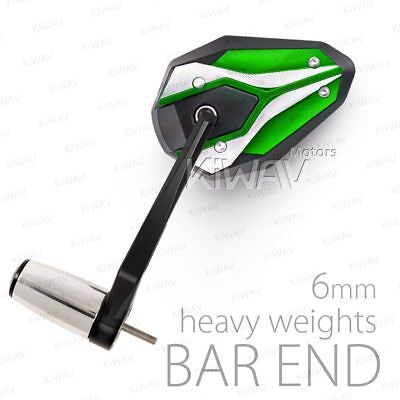 Stainles bar end chrome & green mirrors ViperII 6mm bolt-on for Vespa GTS Super