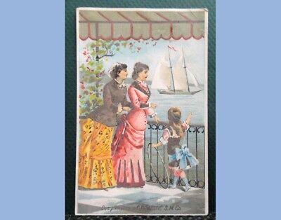 antique VICTORIAN TRADE CARD DOMESTIC SEWING MACHINE ladies+boat TELFORD PA
