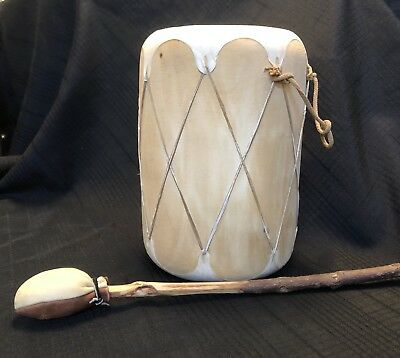 "Native American Indian 9"" Drum with Beater Pueblo Southwest"