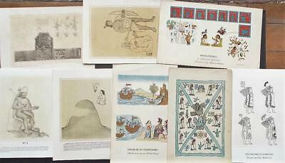 Mexico Antiquities 8 Old  Lithographs  H. Iriarte