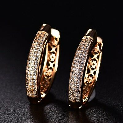 Fashion Vintage Brilliant Sapphire Crystal Women Wedding Gold Hoop Earrings