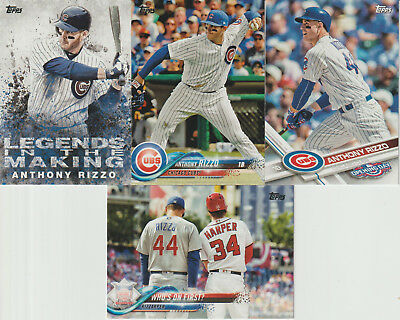 ANTHONY RIZZO Chicago Cubs (4) Baseball Card Lot - FORT LAUDERDALE, FL. born