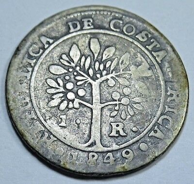 1849 Costa Rica 1 Real Central America Piece of 8 Reales Antique Silver Coin