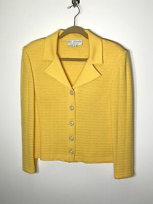 St John Collection 10 Marie Gray Yellow Jacket Button Front LS Santana Knit EUC