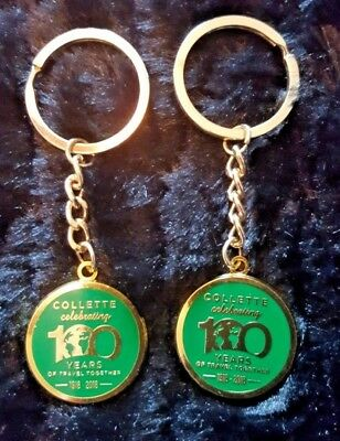 LOT of 2 Collette Travel 100 Yr Keychains, Gold/Green, metal, collectible
