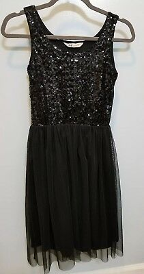 Black H&M Girls Sz 12 to 14 Party Dress Tulle Sequins Holiday Wedding EUC