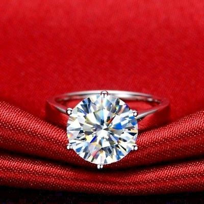 Certified-3-22ct-Round-White-Moissanite-Solitaire-Engagement-Ring-14k-White-Gold