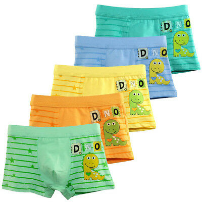 5PCS Boys Dinosaur Breathable Cotton Underwear Boxer Briefs Shorts Underpants AU