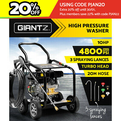 Giantz 10HP 4800PSI High Pressure Washer Petrol Water Hose Cleaner Gurney Turbo