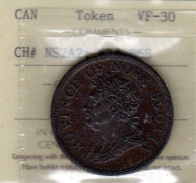 1824 NOVA SCOTIA GEORGE IV ONE PENNY TOKEN, NS2A2, Breton 868, ICCS VF-30