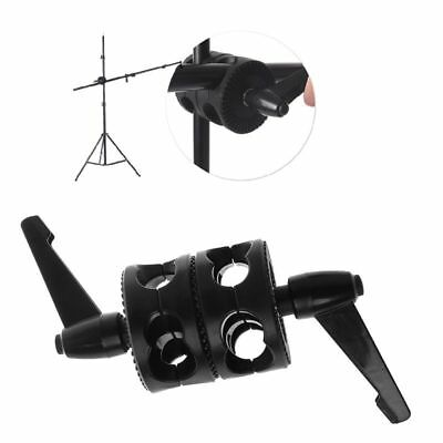 Dual Grip Head Double Angle Tilt Mount Wheel Boom Clamp Arm Support Light Stand