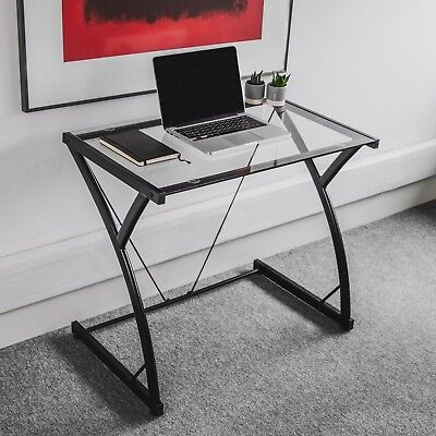 Small Glass Computer Desk Home Office Workstation Study Laptop Writing Table