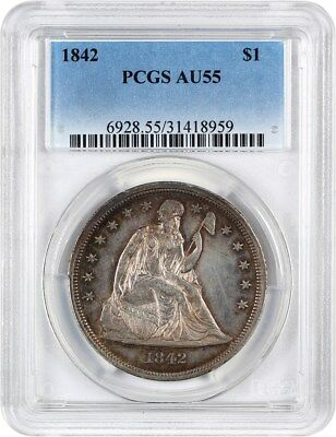 1842 $1 PCGS AU55 - Low Mintage Date - Liberty Seated Dollar - Low Mintage Date
