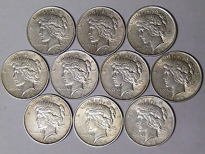 Lot of 10 1922 Peace Silver Dollars Circulated XF and XF/AU
