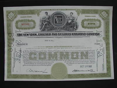 The New York, Chicago and St. Louis Railroad Company Namensaktie