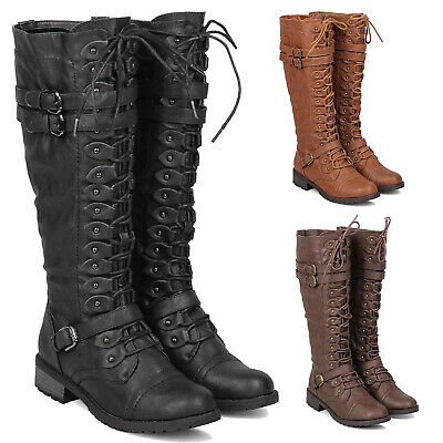 Womens Faux Leather Knee High Lace Up Buckle Riding Boots Military Combat Boots