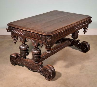 *French Antique Renaissance Revival Library Table Highly Carved Desk in Oak